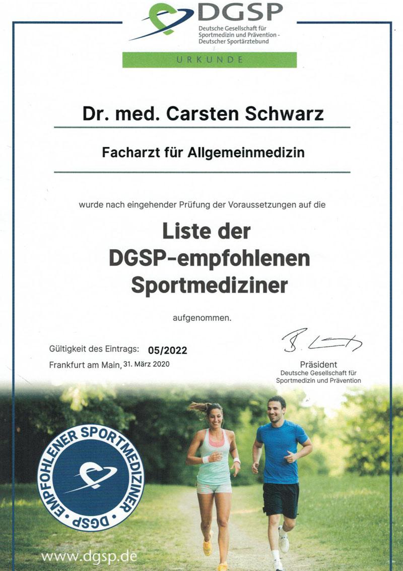 Praxis Dr Carsten Schwarz Berlin Zertifikat DGSP empfohlene Sportmediziner